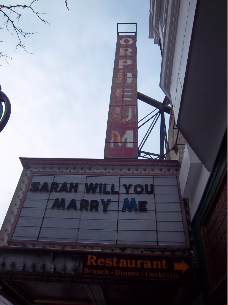 A proposal on the Orpheum Marquee as seen on January 22, 2014