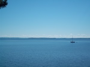 Boat on Lake Superior from Madeline Island