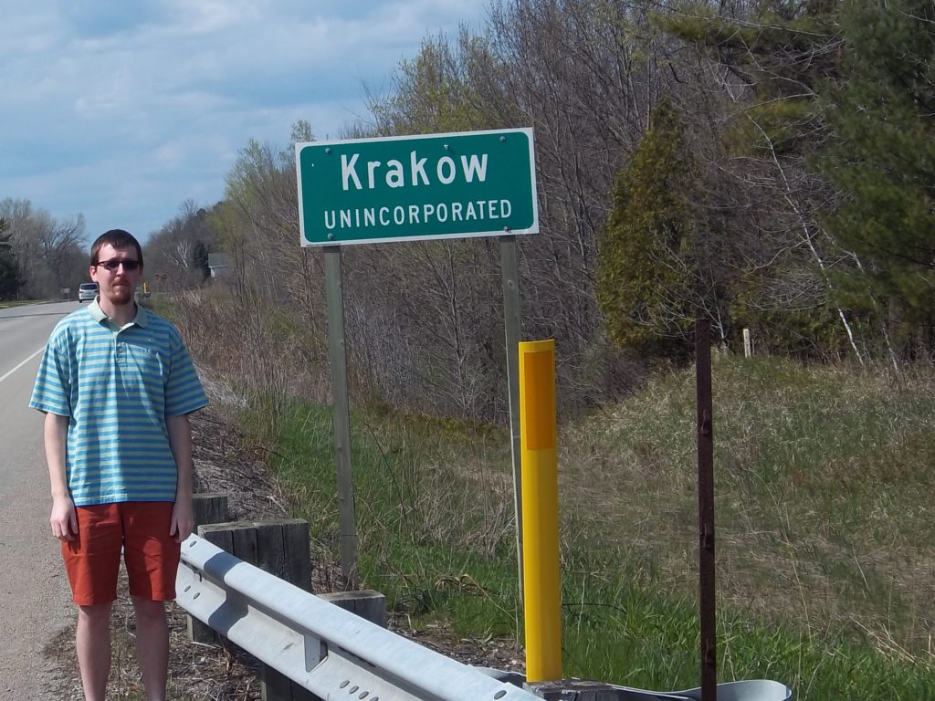 Me at the Krakow sign