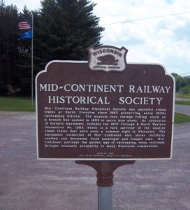 Wisconsin Historical sign at Mid-Continent Railway Museum